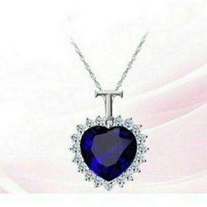 """Jewelry - Blue Sapphire Heart Necklace From on """"Titanic"""""""
